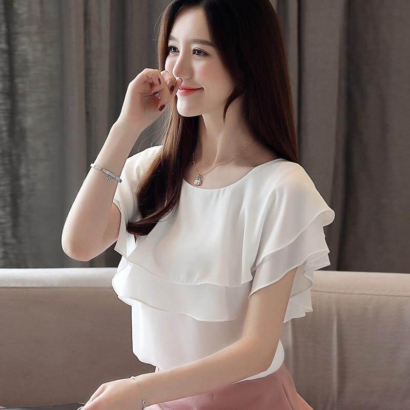 (Pre Order14 Days JYS Fashion Korean Style Women Chiffon Top Collection 526-6348Col525a-6348--White-XL