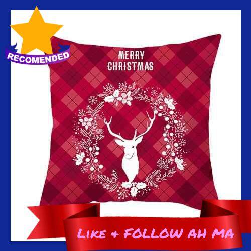 Best Selling Christmas Style Pillowcase Red Plaid Cushion Cover Square Pillow Case 450*450mm Home Sofa Decor (8)