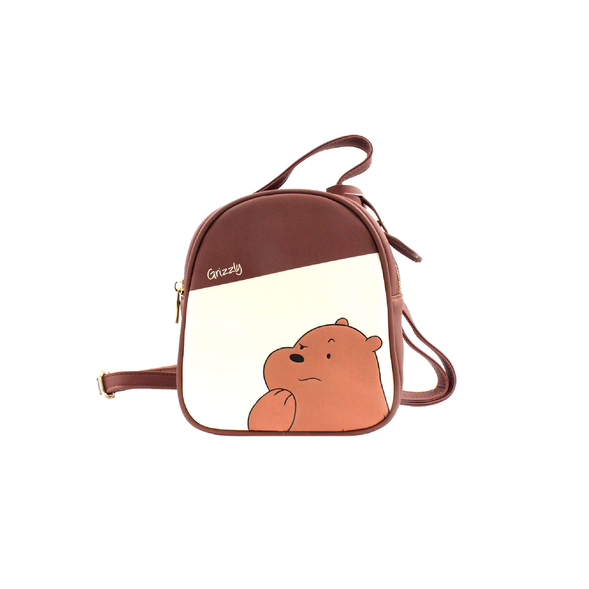 We Bare Bears Grizz Crossed-Body Bag - Brown Colour