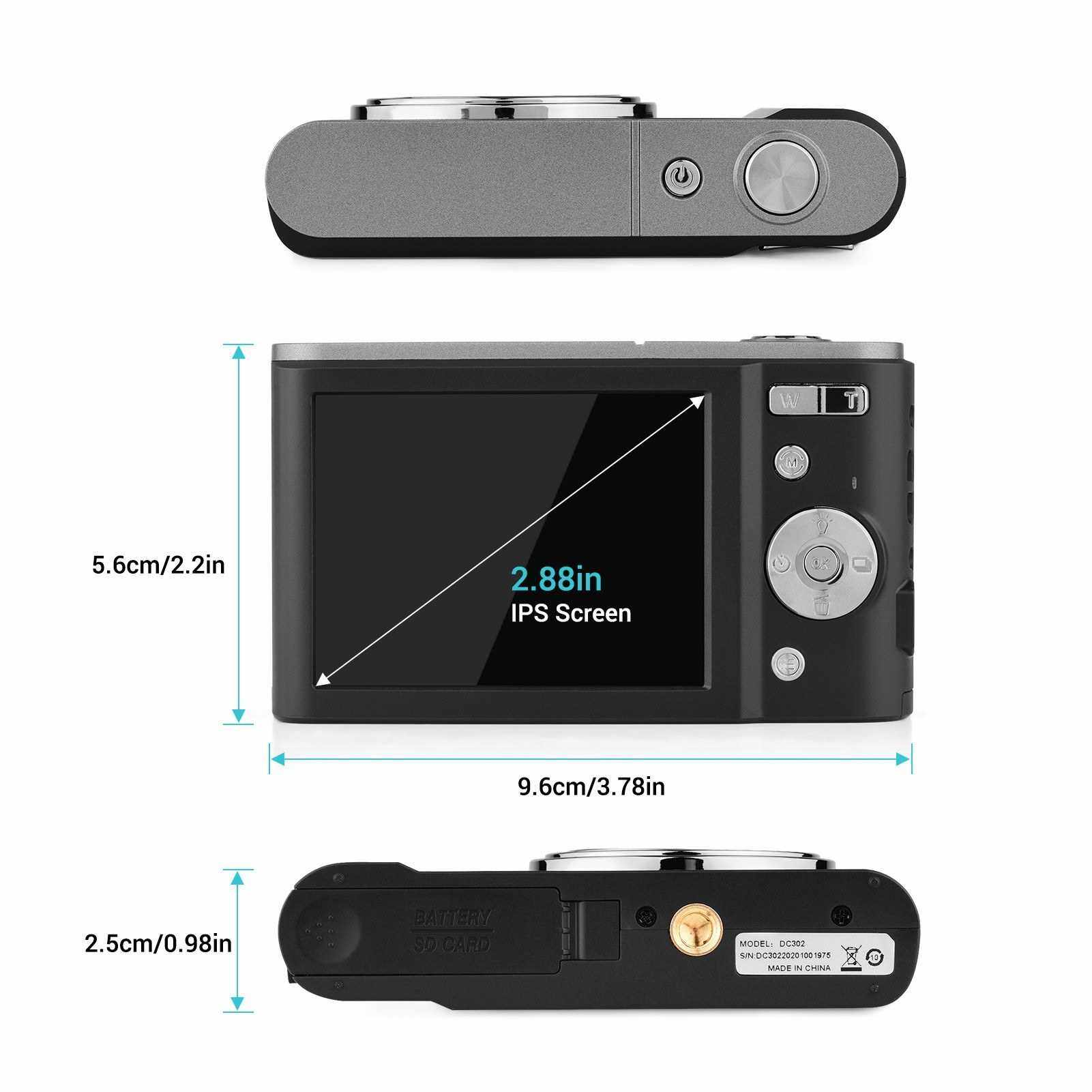 Andoer Mini Digital Camera 44MP 2.7K 2.88-inch IPS Screen 16X Zoom Self-Timer 128GB Extended Memory Face Detection Anti-shaking Built-in 2PCS Batteries Universal 1/4 Mounting with Hand Strap Carry Pouch (Standard)