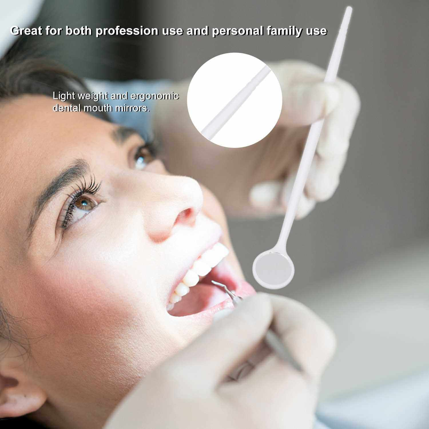 People's Choice 100pcs Disposable Mouth Exam Reflector Mirrors Plastic Anti-fog Lens Dental Tooth Whitening Instrument Oral Hygiene Care Tool (White)