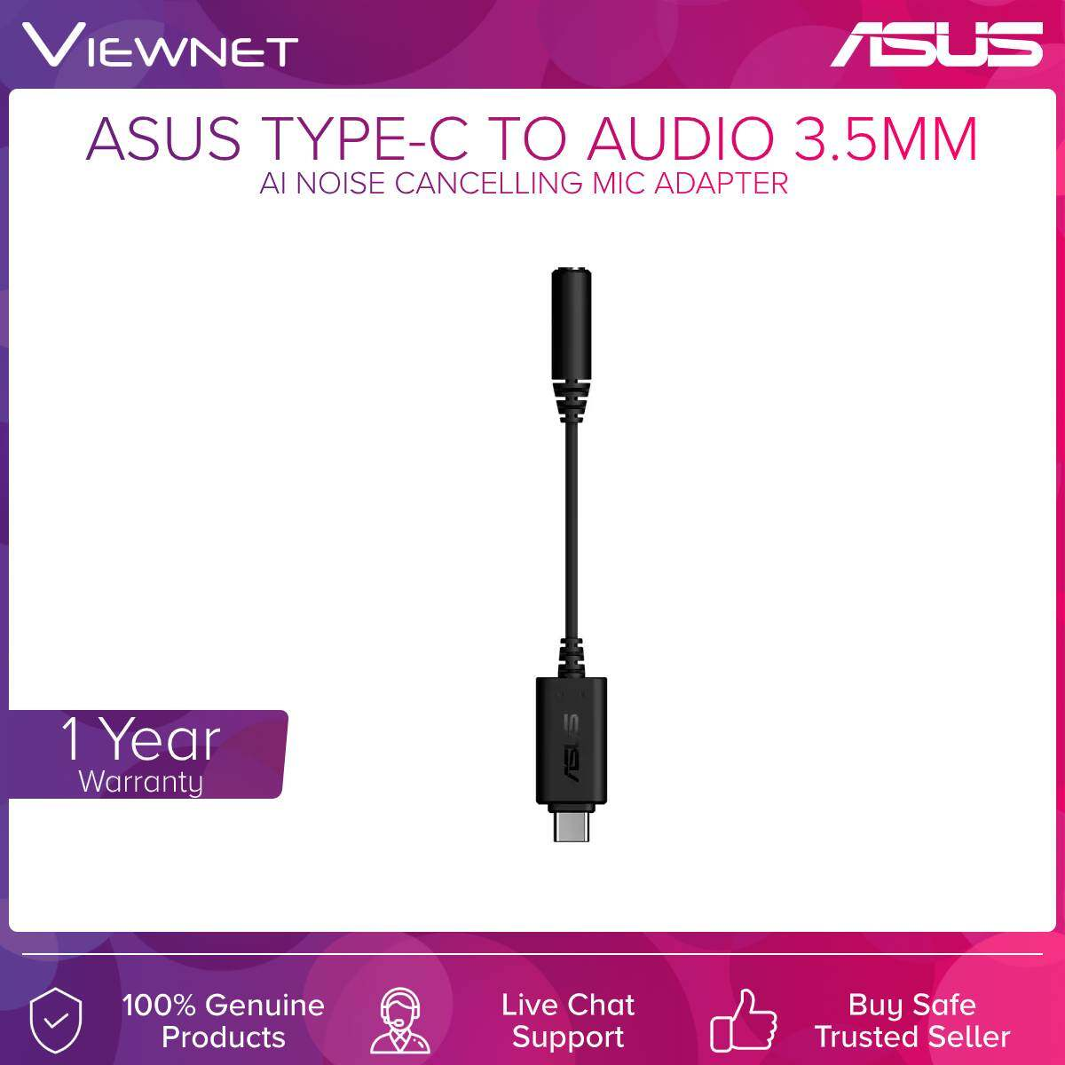 Asus (AC-90YH02L1-B2UA00) Type-c to 3.5mm Ai Noise Cancelling Mic Adapter Blk