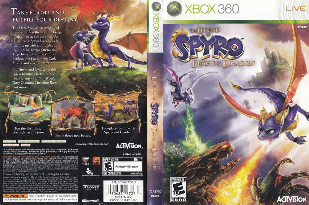 XBOX 360 The Legend of Spyro Dawn of the Dragon
