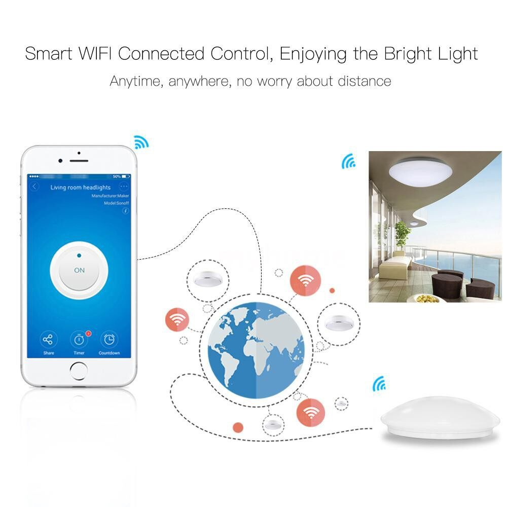 Lighting - AC110-240V 24W 72LED WIFI Intelligent Circular Round Ceiling Light Lamp Lighting Fixture Supported - Home & Living