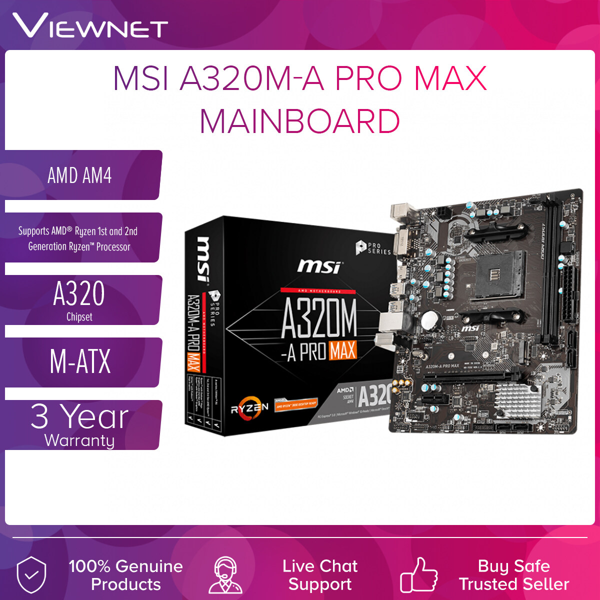 MSI AMD AM4 A320M-A PRO MAX MOTHERBOARD