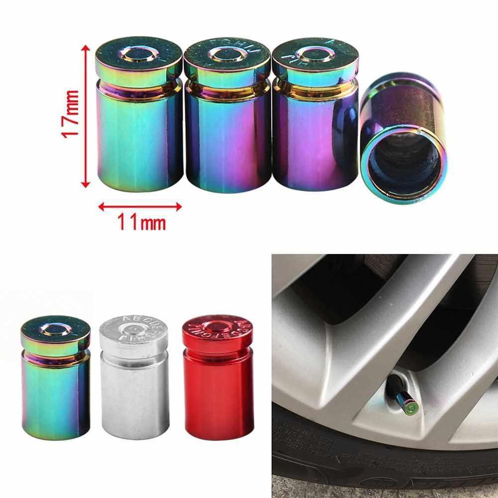 4Pcs Tire Valve Stem Cover Caps Aluminum Car Wheel Air Pressure Valve Cap Bullet Shell Dust Cap for Automotive Motorcycles Bicycles Tire Universal (Multicolor)