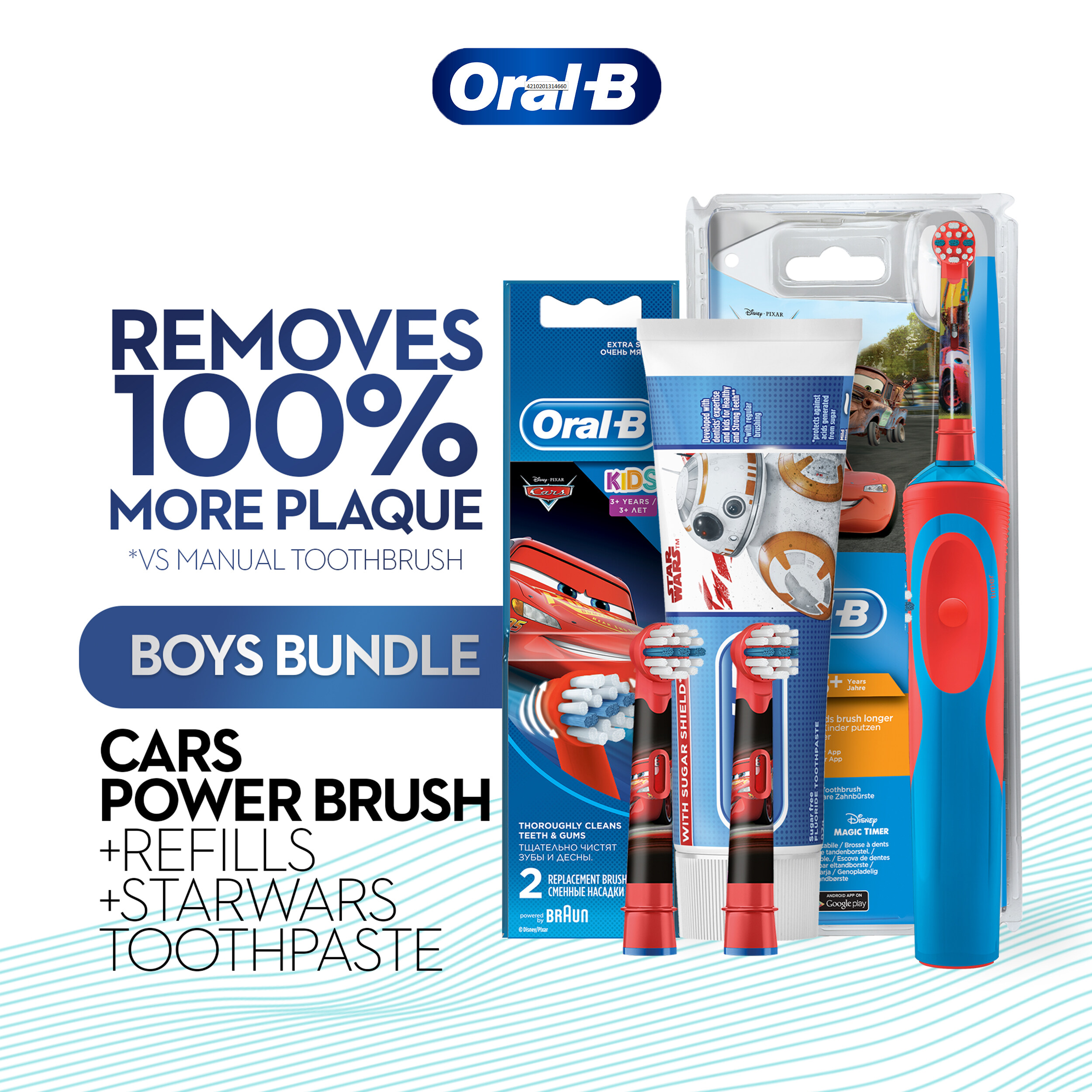 Oral-B Kids Car Rechargeable Toothbrush + Refill 2 count & Starwars Junior Toothpaste 92g