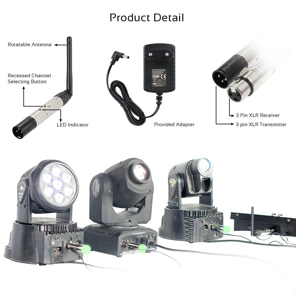 Lighting - DMX512 4 PIECE(s) Transmitter Receiver Kit PORTABLE 2.4G ISM WIRELESS for Party DJ Sho - Home & Living