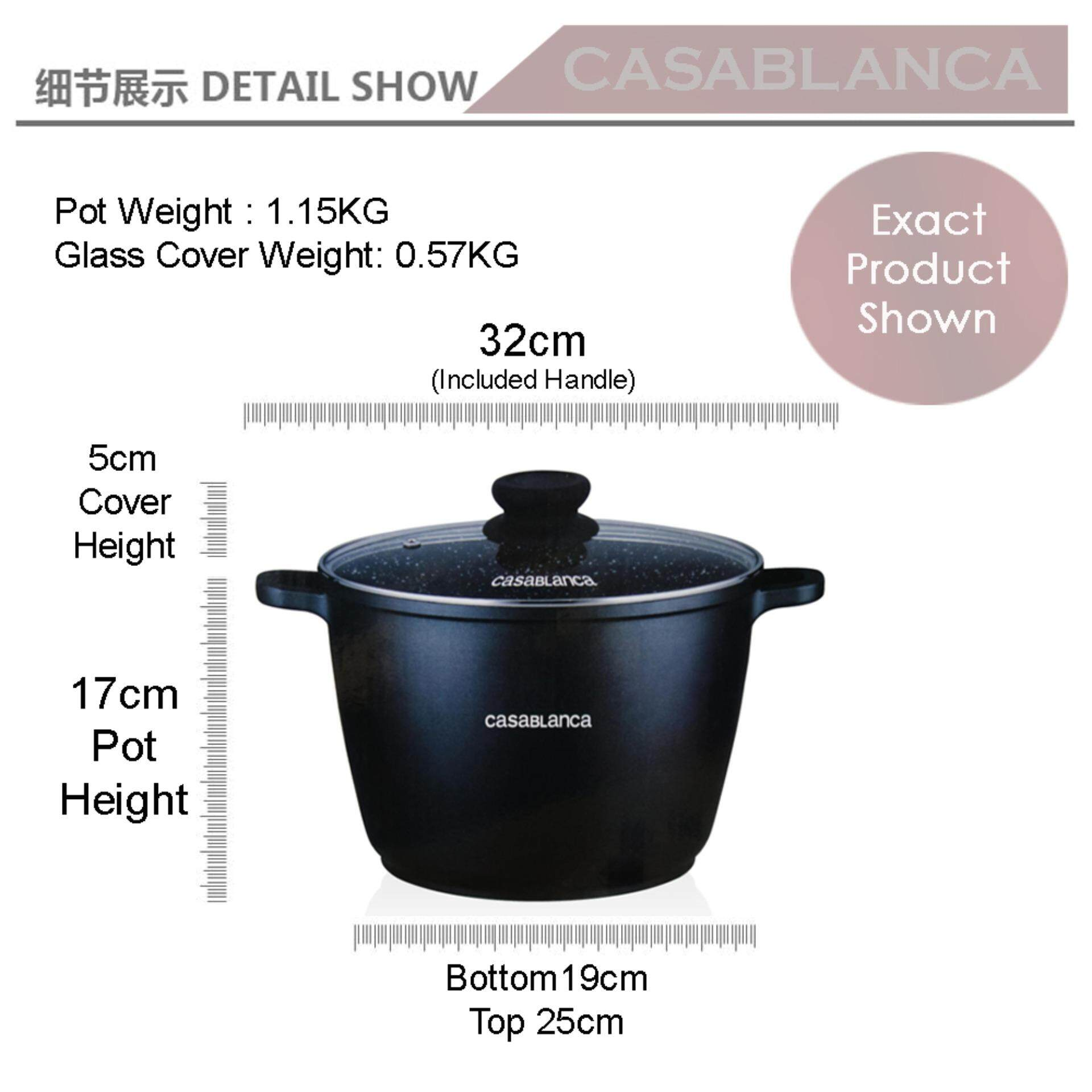 [Ready Stock]Casablanca 5 Layer Aluminium Cast Non Stick Marble Coated Cooking Pot [Fast Delivery]