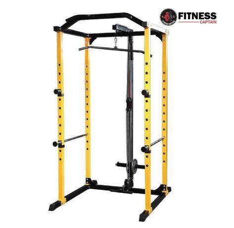Fitness Captain Gym Power Rack Squat Cage With Lat / Row Attachment