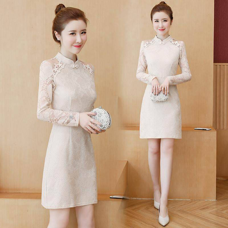 (Pre Order14 Days JYS Fashion Korean Style Women CNY Festive Red Cheongsam Collection-5261188col526-1188--Beige -Int:S