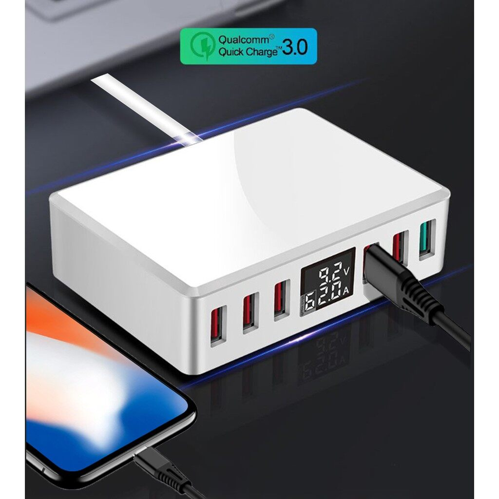 6 Ports Smart USB Charger Fast Charging Station Stand Dock Hub with LCD Display for Mobile Phone