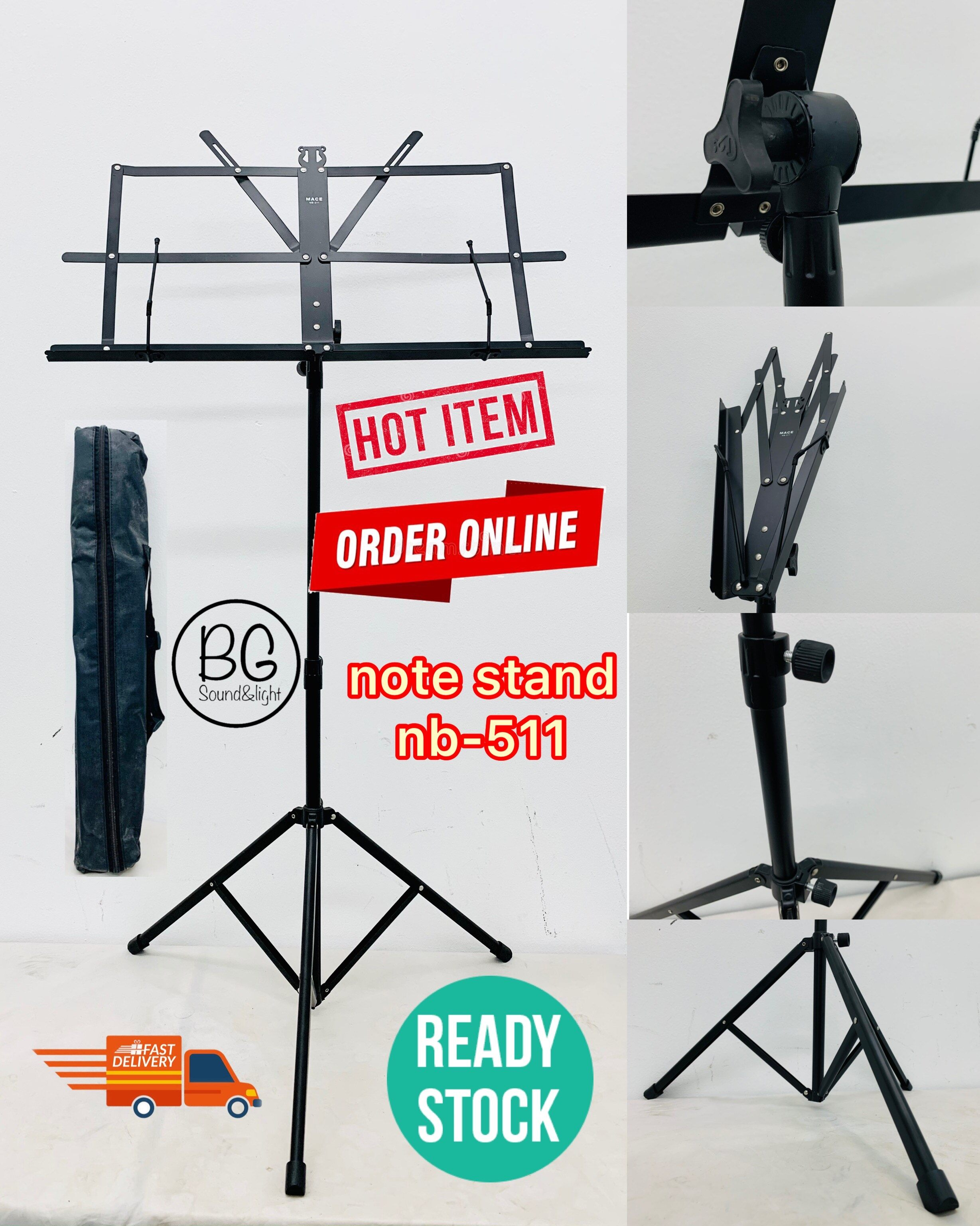 [READY STOCK] NB-511 Foldable Note Stand Music Stand with Bag (NB511)