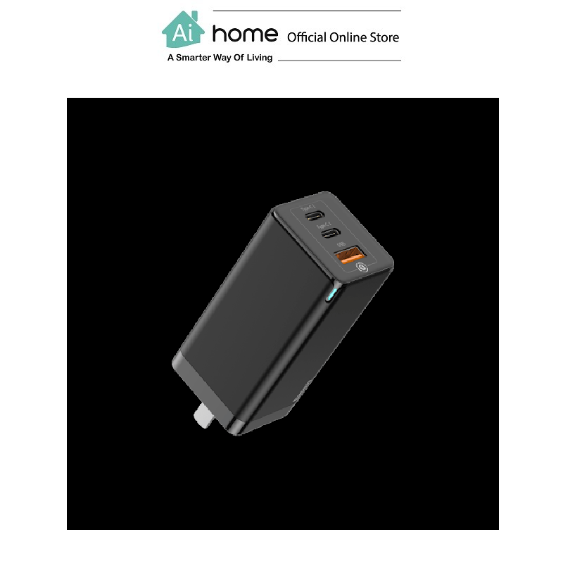 BASEUS GaN Mini Quick Travel Charger 65w (Black) with 1 Year Malaysia Warranty [ Ai Home ] BASEUS GaN Travel Charger