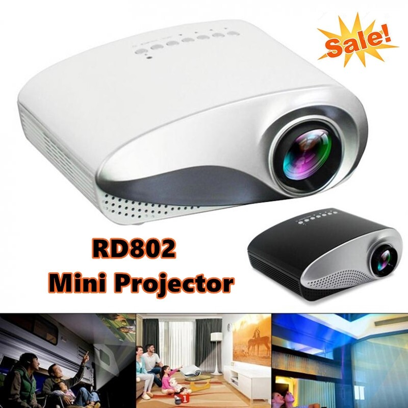 RD802 PORTABLE MINI Projector Home Theater LED LCD Beamer USB/VGA/HDMI Child Cartoon Video Cinema