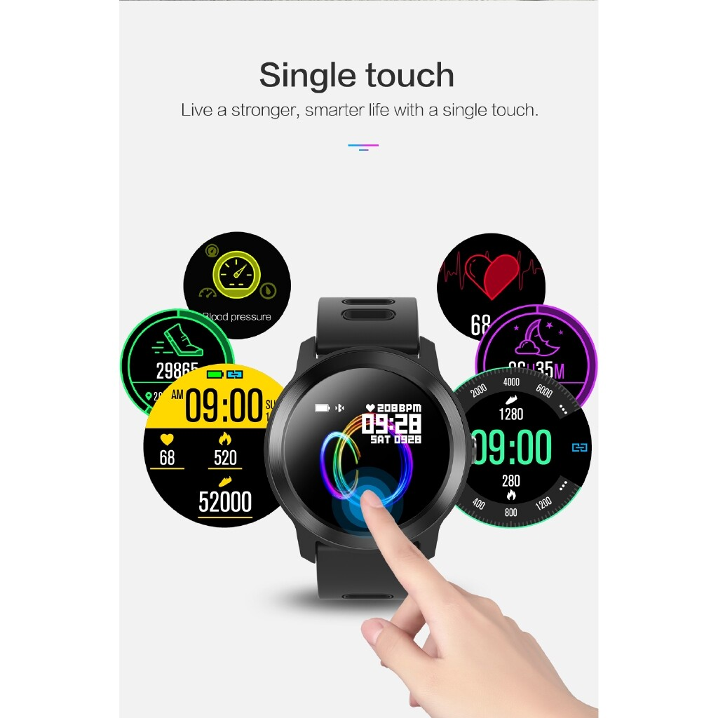 Smart Watch - SENBONO S08 Plus Single Touch 1.3 Inch Color Screen Wristband IP68 Music Control HR Monitor Smart - WHITE / BLACK