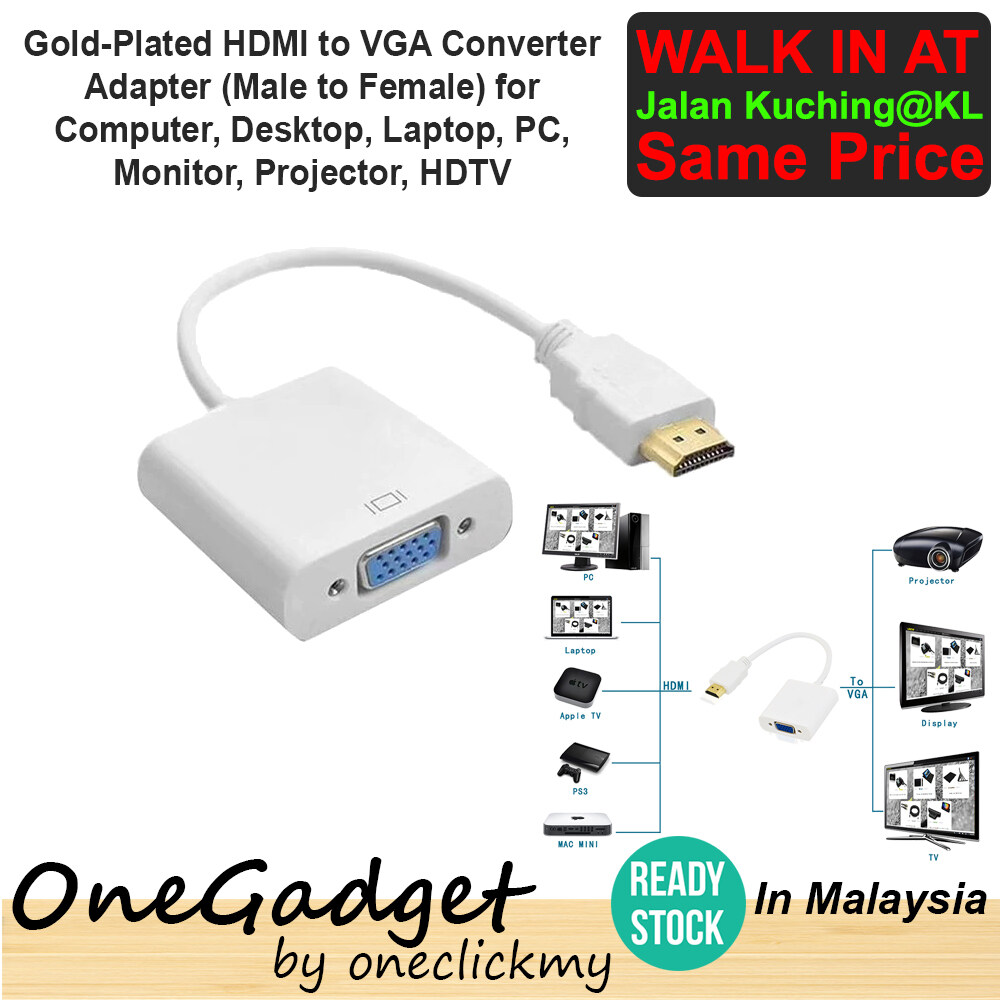 [READY STOCK]Gold-Plated HDMI to VGA Converter Adapter for Computer, Desktop, Laptop, Projector