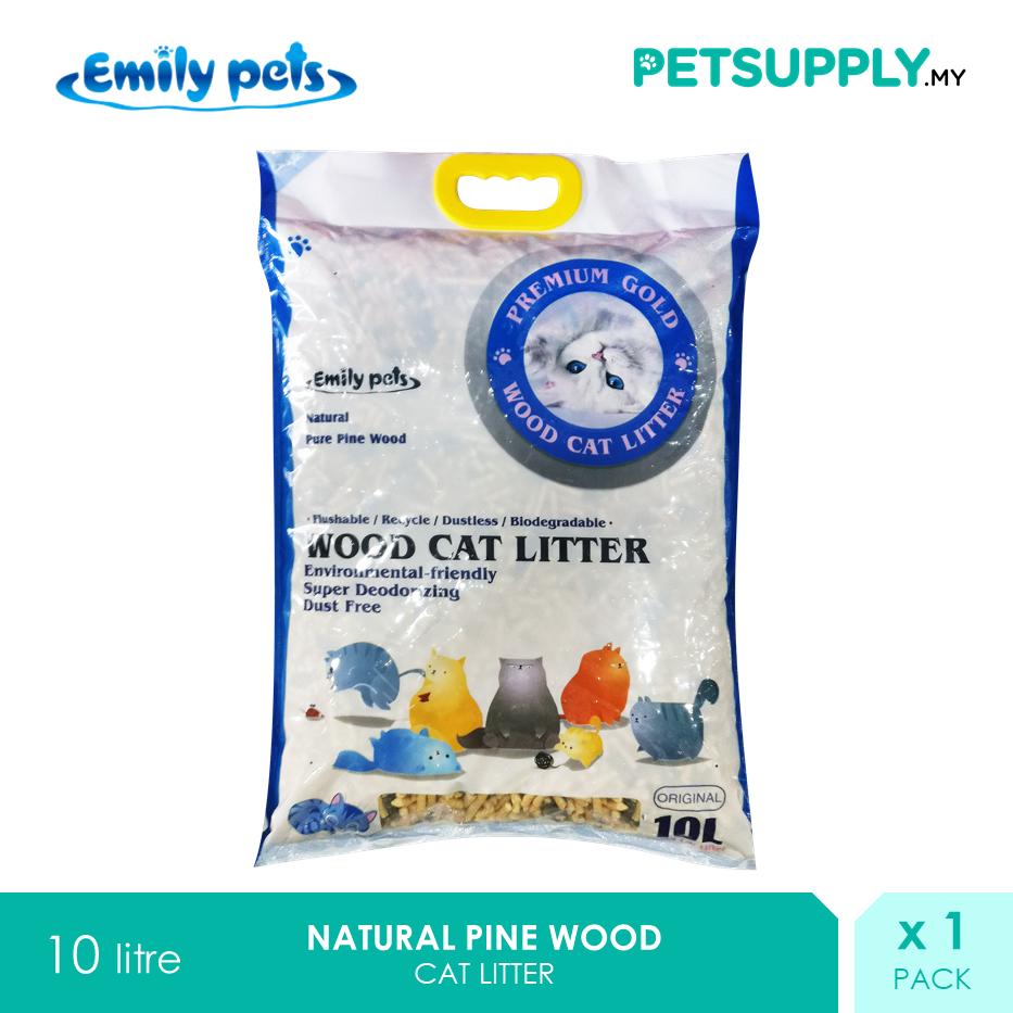 Emily Pets Natural Pure Pine Wood Cat Litter 10 Litre [Pasir Kucing Kayu - Petsupply.my]