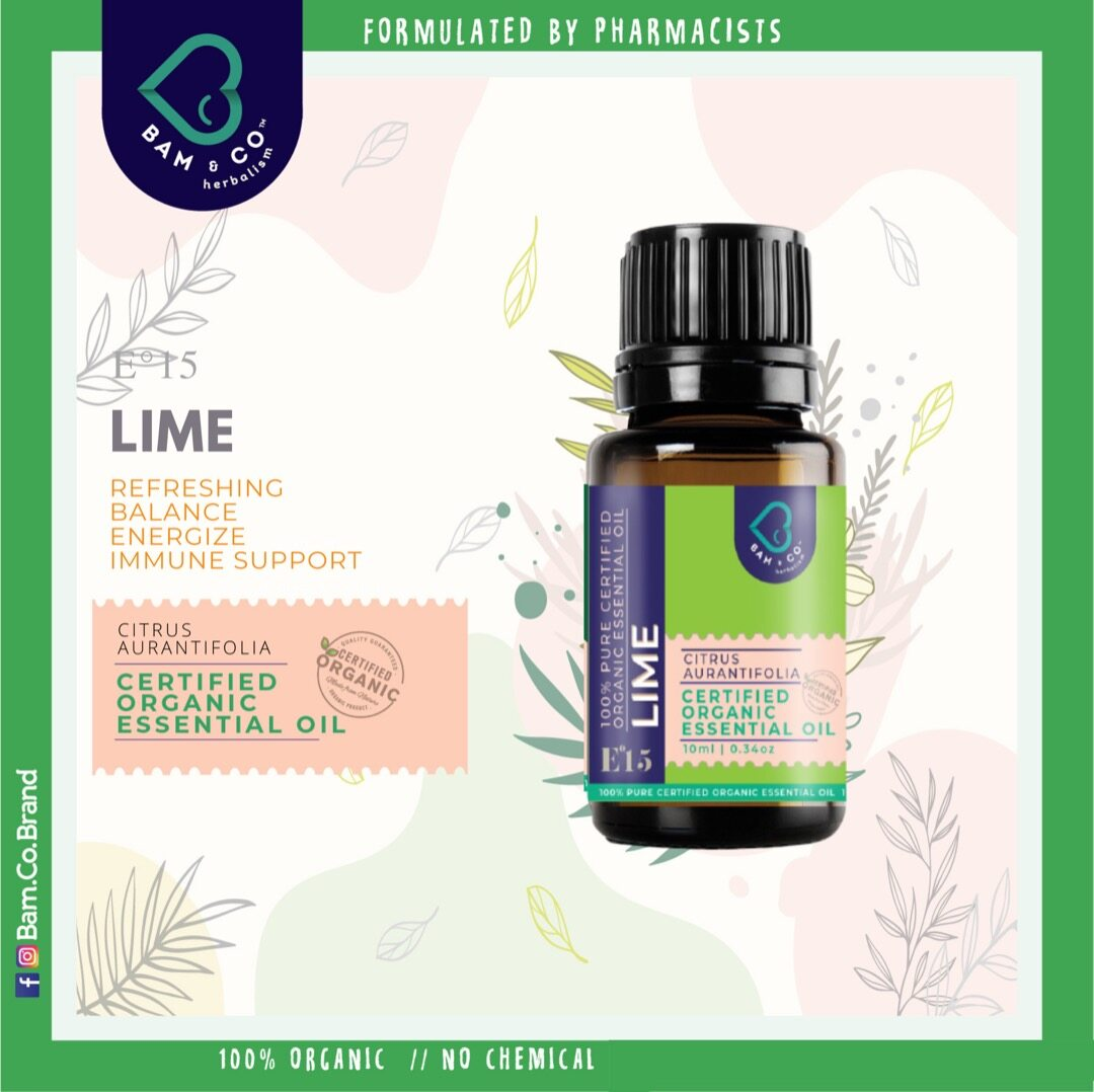 BAM & CO. LIME CERTIFIED PURE ORGANIC ESSENTIAL OIL PERFECT FOR HUMIDIFIER 5ML 10ML AROMATHERAPHY