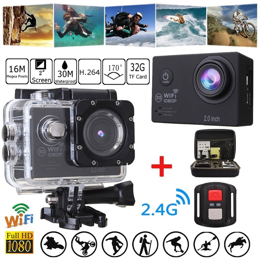 Sports & Action Cameras - 4K HD 1080P WIFI LCD 2\'\' Waterproof Action Camera Sports DV Camcorder +Remote - Drones