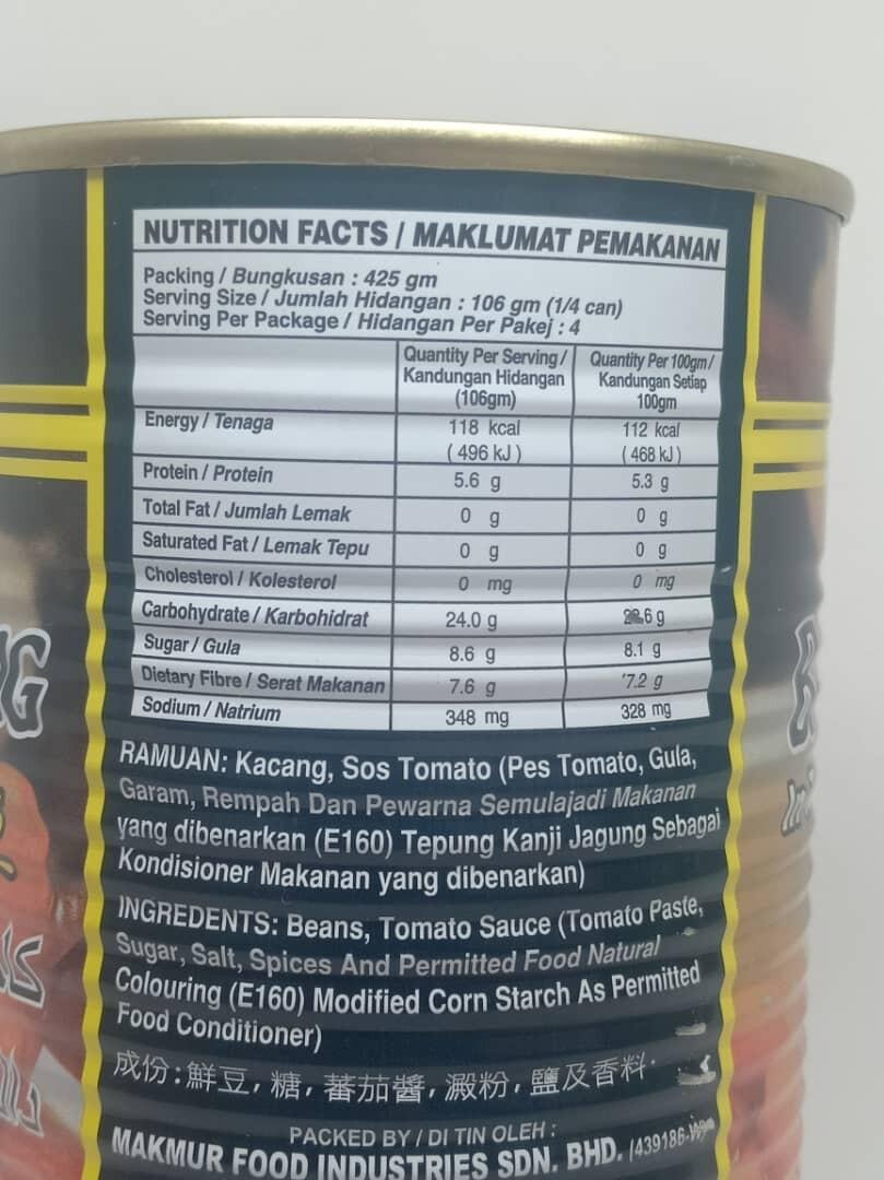 Makmur Brand Baked Beans In Tomato Sauce 425g