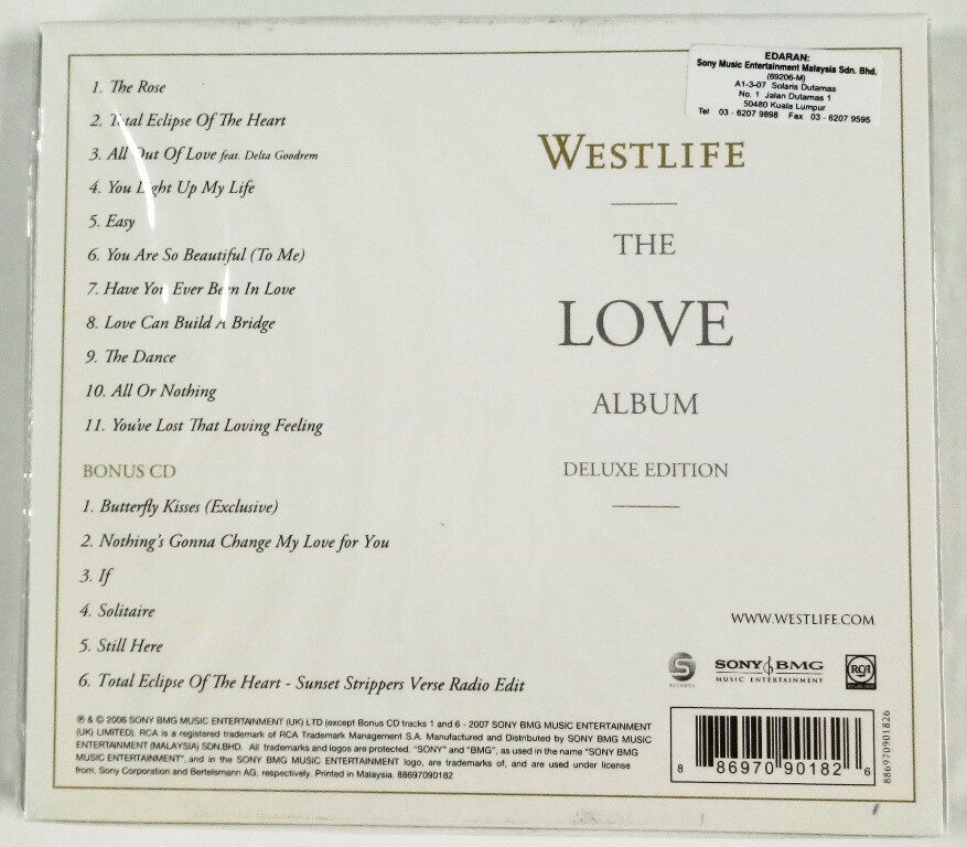 Westlife - The Love Album Deluxe Edition CD