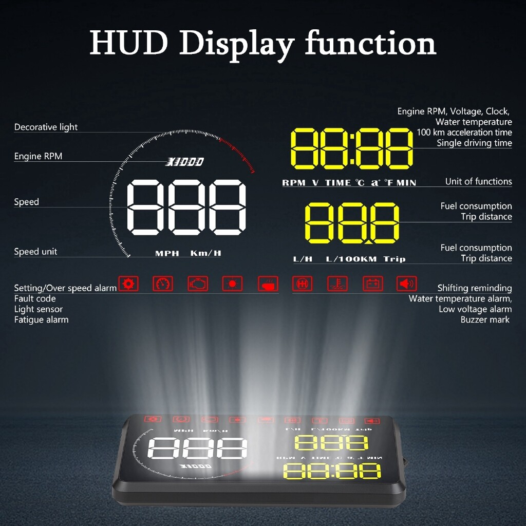 A9 OBDII Car HUD Head-Up Display Universal Car Interface Speed Fuel Consumption Voltage LCD Display - BLUE / YELLOW