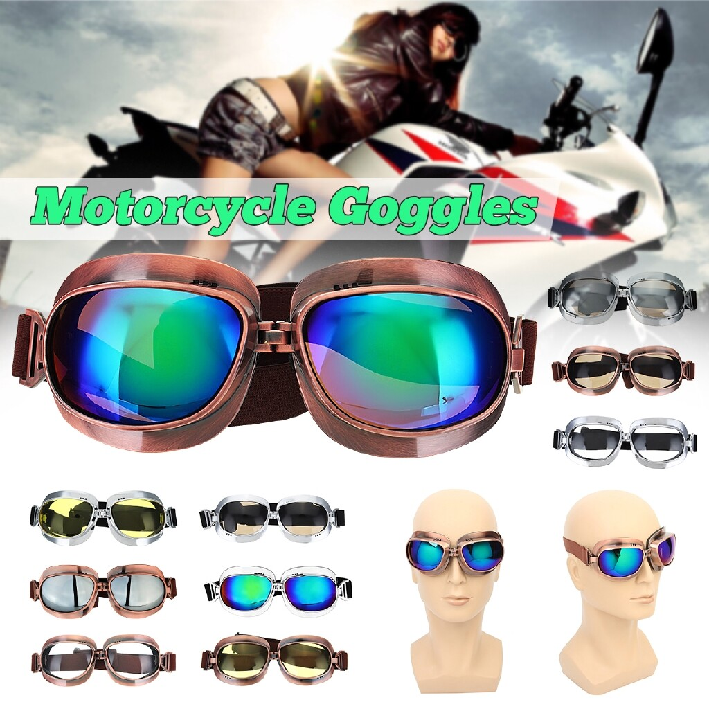 Moto Helmets - Motorcycle Glasses Motorbike Helmet Eyewear Goggles Cycling Outdoors - YELLOW-COPPER FRAME / TRANSPARENT-COPPER / COLORFUL-COPPER / TEA CLOLR-COPPER / COLORFUL-SILVER / TEA CLOLR-SILVER / SILVER-SILVER FRAME / TRANSPARENT -SILVER / YEL