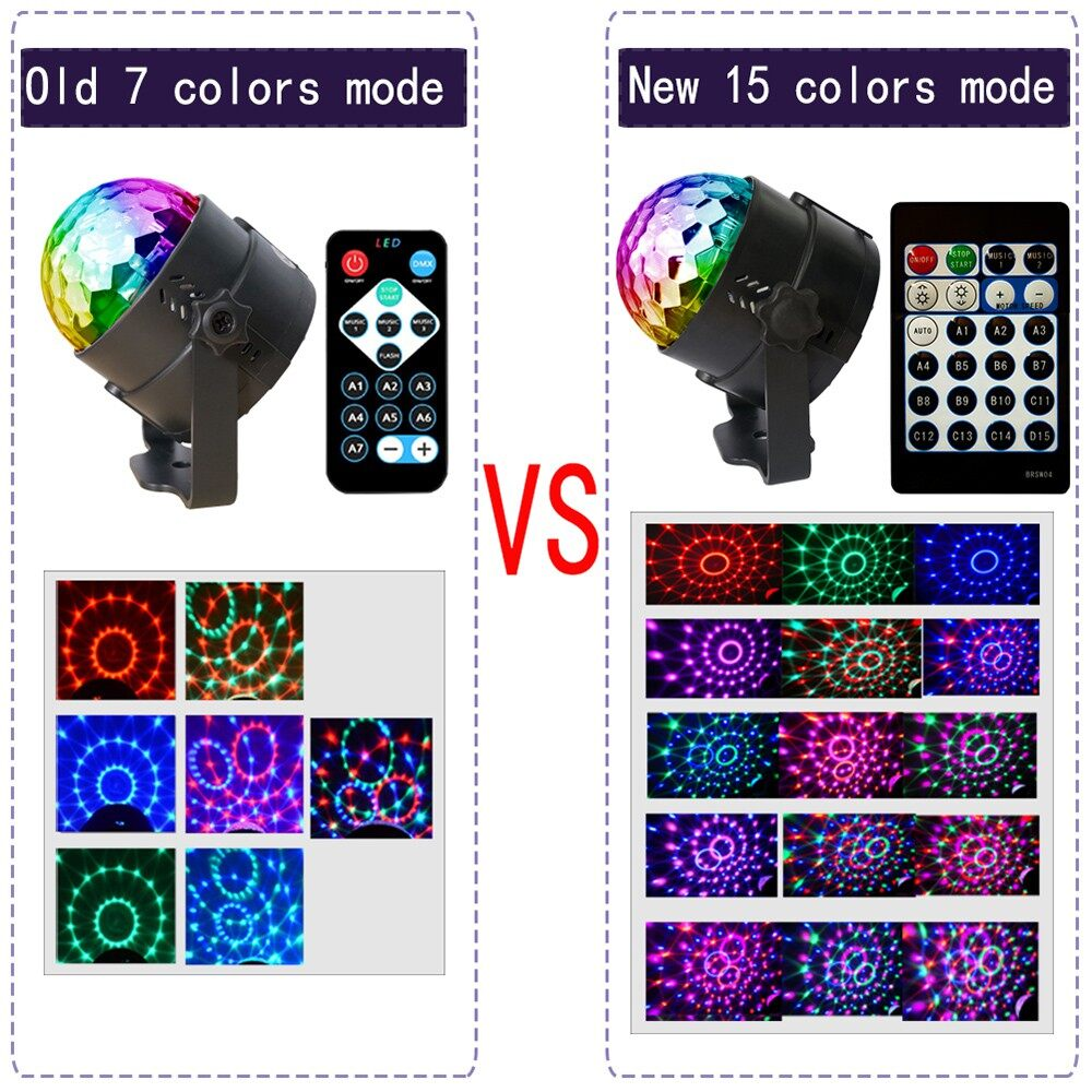 Lighting - 15 Colors LED Crystal Magic Ball Stage Effect Lighting Party Disco Club DJ Bar Lamp - Home & Living