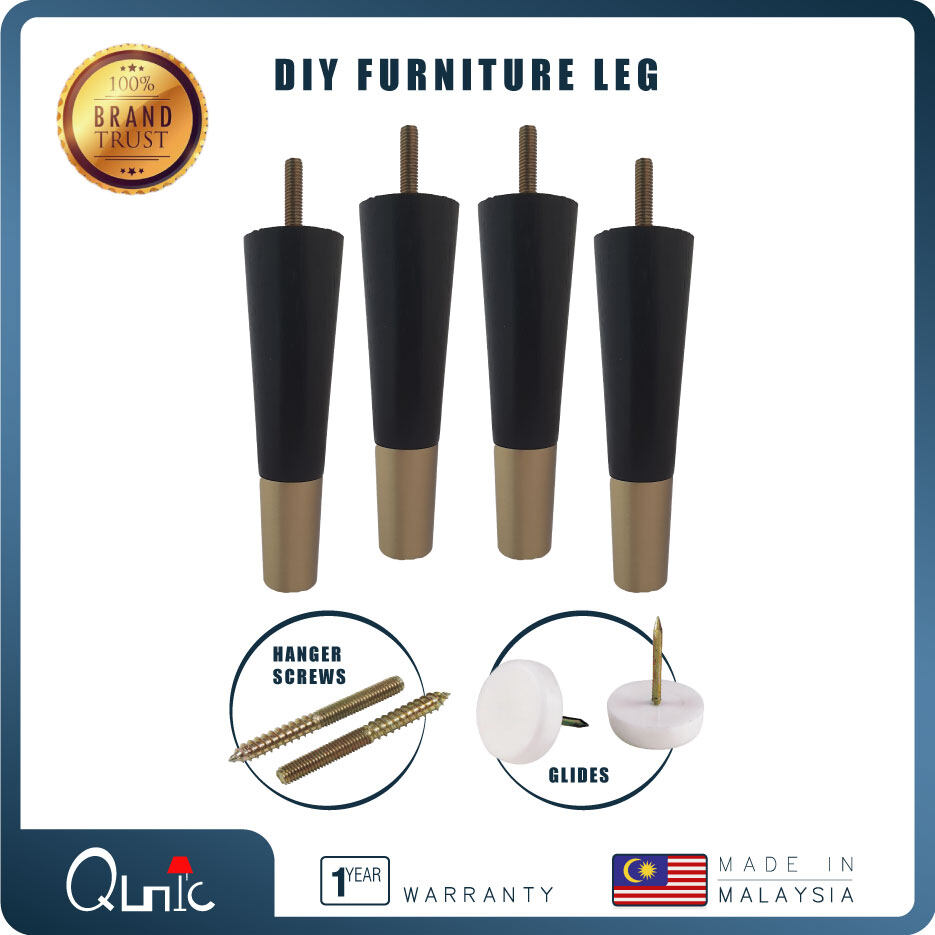 Qunic 7.5 inch Wood Bed Sofa Leg DIY Black Wood with Screw Pack & tapered of 4 Round