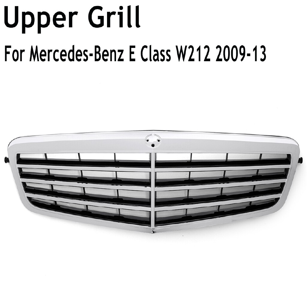 Car Lights - Chrome Silver Front Mesh Grille Bumper For Mercedes-Benz E Class W212 2009-2013 - Replacement Parts