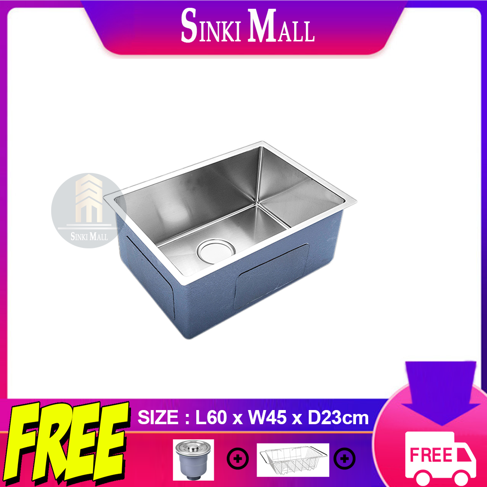 60x45 Handmade SUS 304 Stainless Steel Kitchen Single Sink Basin Counter Topmount Undermount Single Bowl *FREE