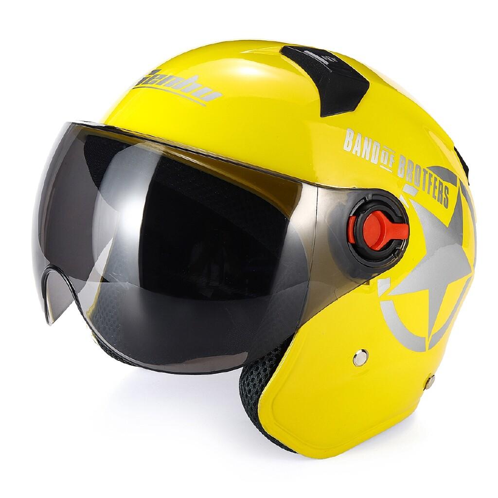 Moto Helmets - Motorcycle Helmet Anti-UV Half Face Helmet ABS Motorcycle Biker - LIGHT PINK / RED / BLACK STAR / YELLOW / BLACK / BLUE / WHITE / PINK