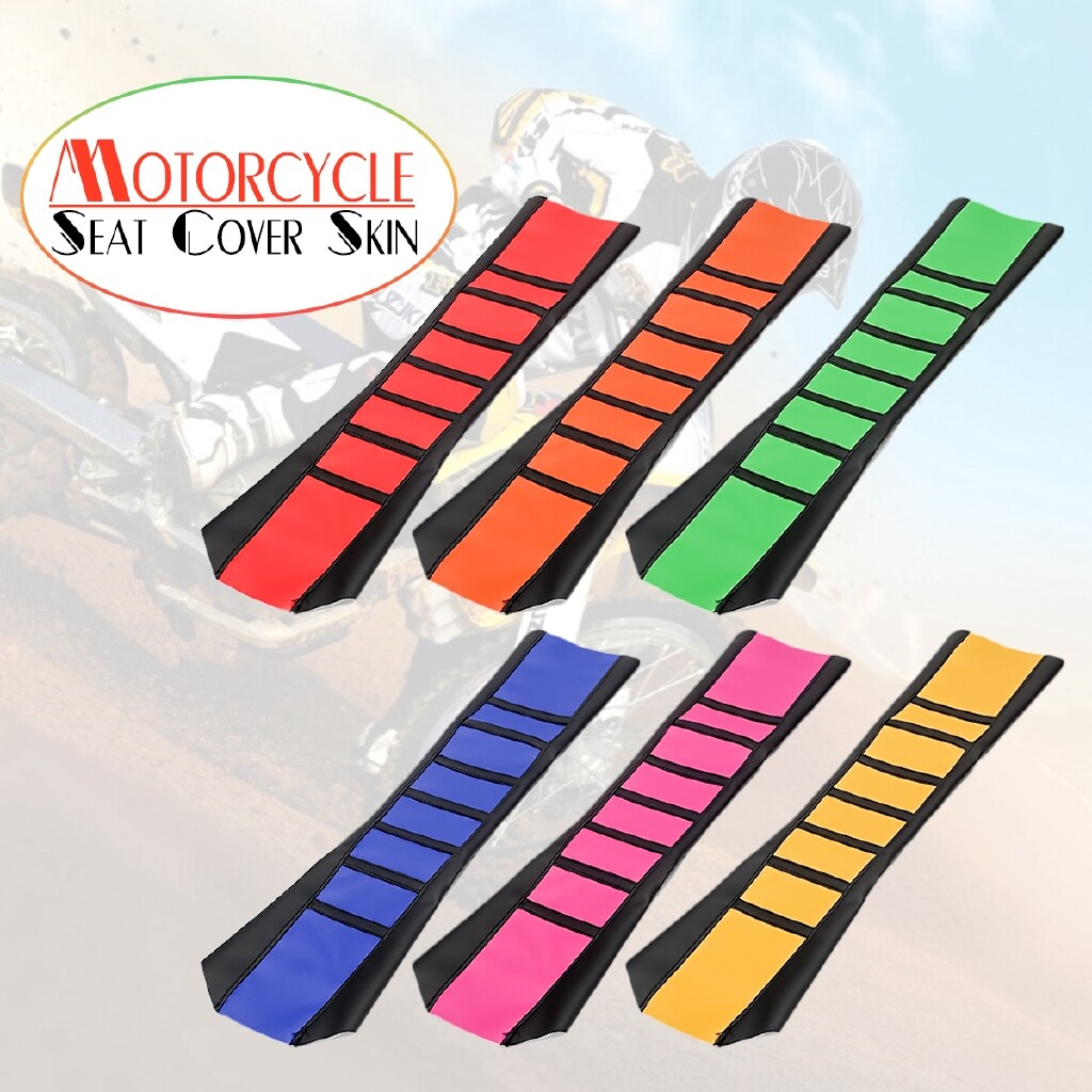 Moto Accessories - Universal Motorcycle Motorbike Seat Cover Rib Skin Rubber Dirt Bike Enduro - ORANGE / YELLOW / GREEN / BLUE / RED / PINK