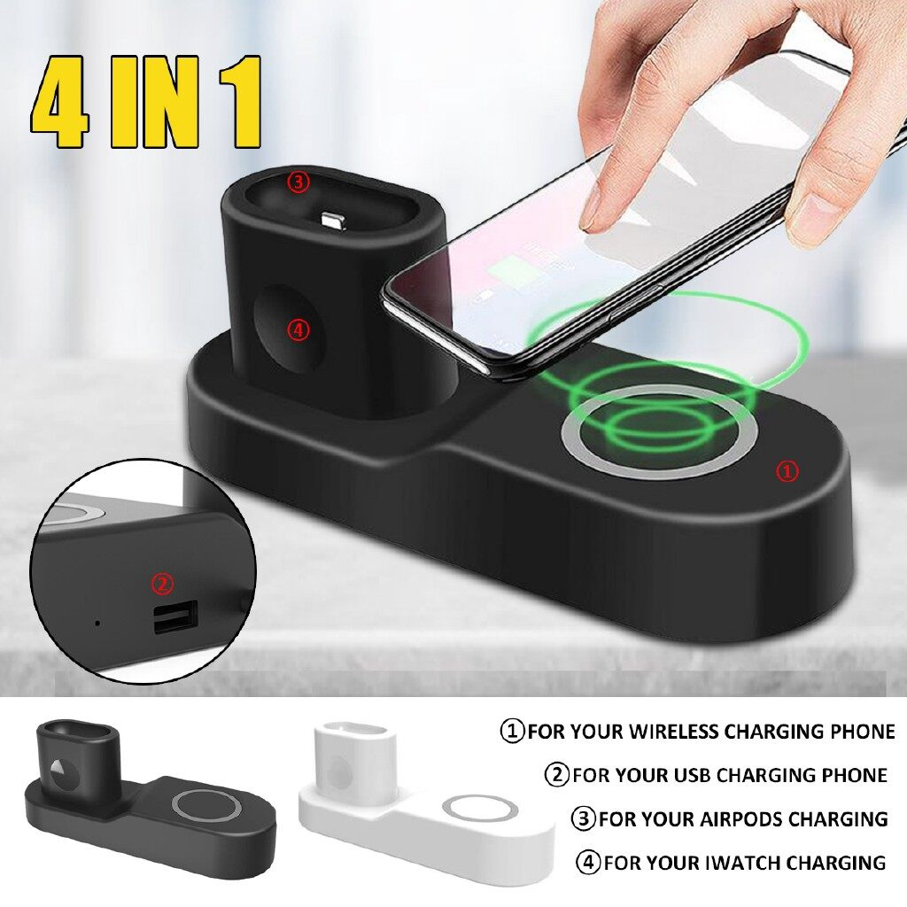 Chargers - 9V 4 In1 Qi Charger Pad Charging Station For Apple Watch iPh X Airpods - WHITE / BLACK