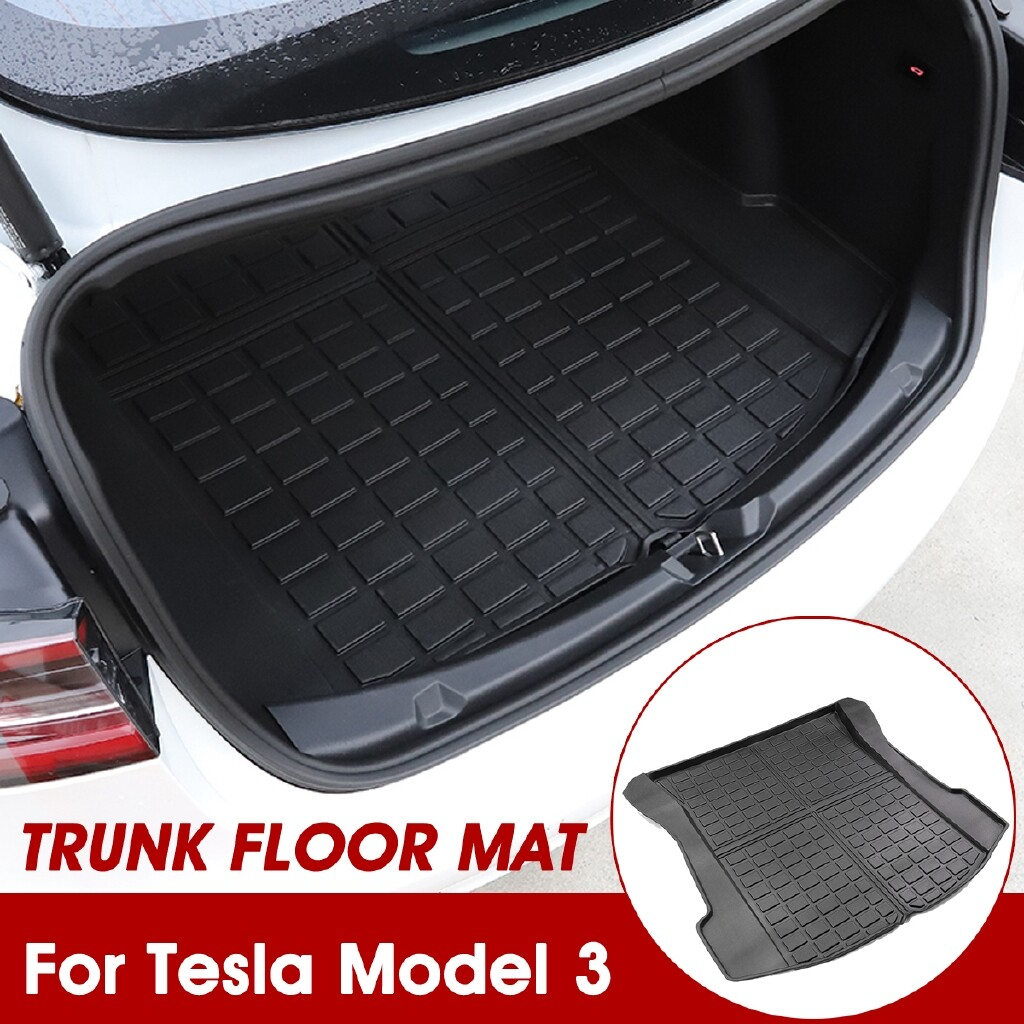 Automotive Tools & Equipment - Thermoplastic Elastomer Car Floor Mat Cargo Liner Rear Tray TPE All-Weather For Tesla Model 3 Trunk - Car Replacement Parts