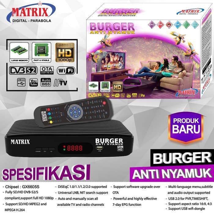 Receiver Matrix Burger Anti Nyamuk (Free Wifi Adapater) Support PowerVu,Cccam,IPTV, Youtube