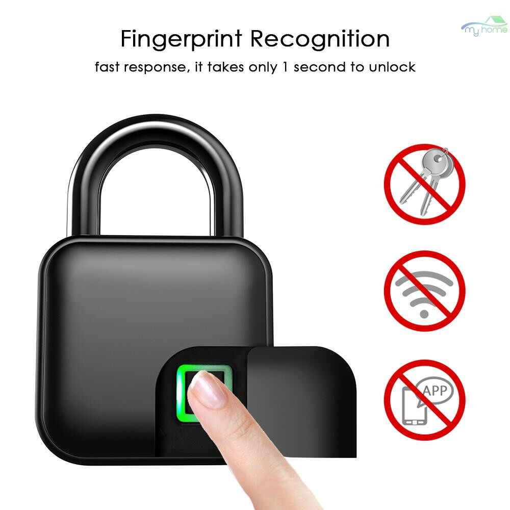 Chains & Locks - Smart Fingerprint Lock USB Rechargeable Keyless 10 SETs Fingerprints IP65 Waterproof Anti-Theft - BLACK