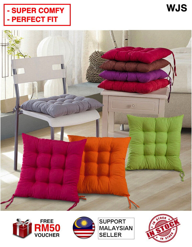 (SUPER COMFY) WJS Premium 100% Cotton Chair Pads 40cm Square Extra-Comfortable & Soft Seat Cushions Ergonomic Pillows For Rocking Dining Patio Camping Kitchen Chairs MULTICOLOR [FREE RM 50 VOUCHER]