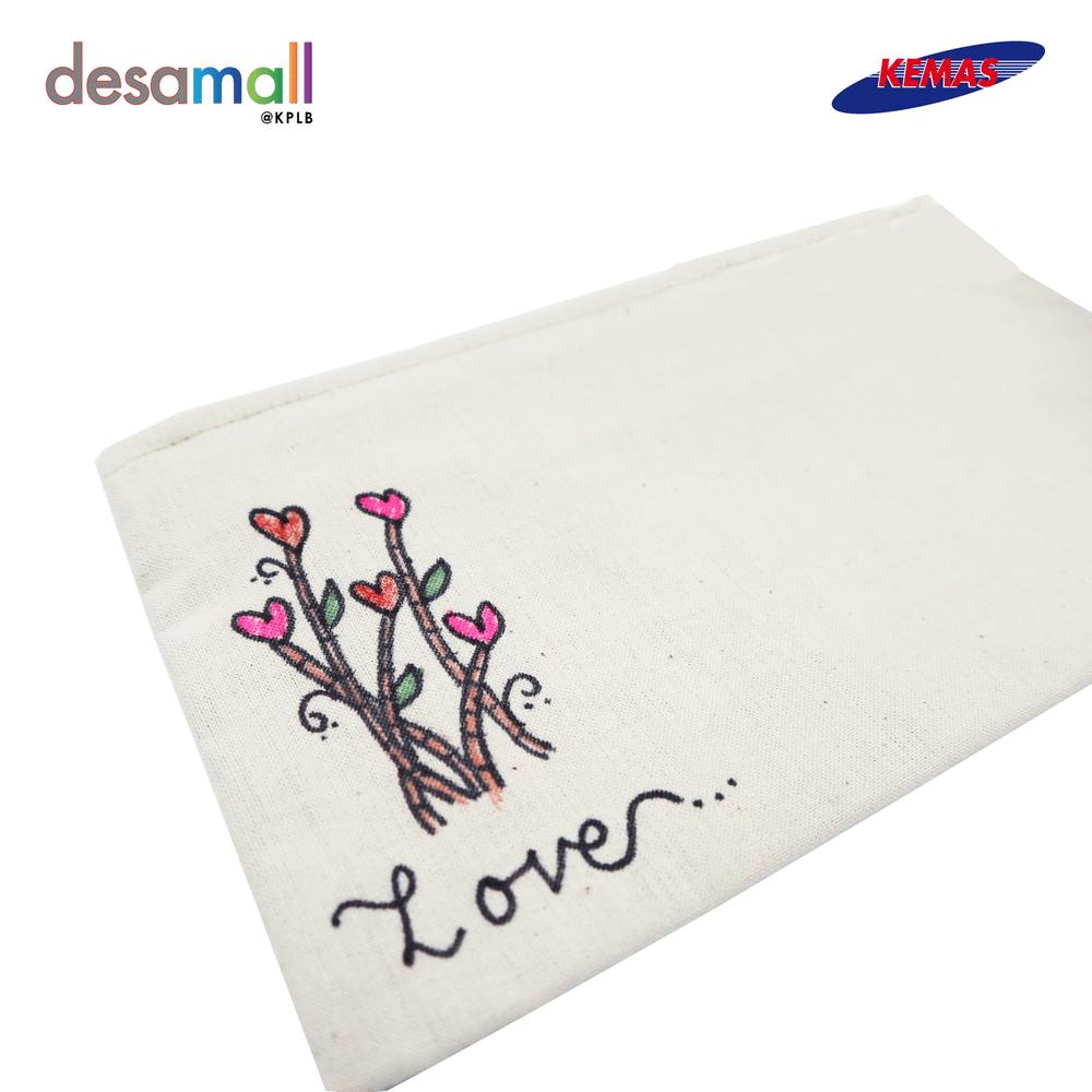 LIZNIM KRAF Beg Pensel Belacu Lukisan Tangan Design Love Tree (12cm X 20.5cm)