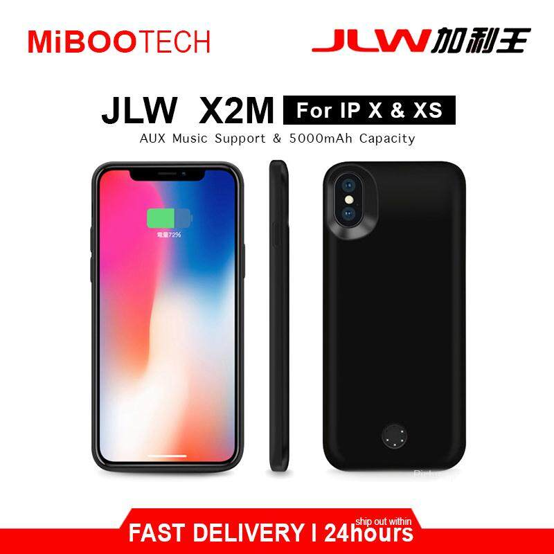 [Miboo] JLW X2M Powercase For iPhone X iPhone XS Support Aux For Music / Call 5000mAh Battery Power Case Born For Apple IP XS IP X - 5000mAh - Black IP X IP XS