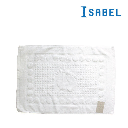 Isabel Classic White Foot Embossed Hotel Bath Mat [18002321]