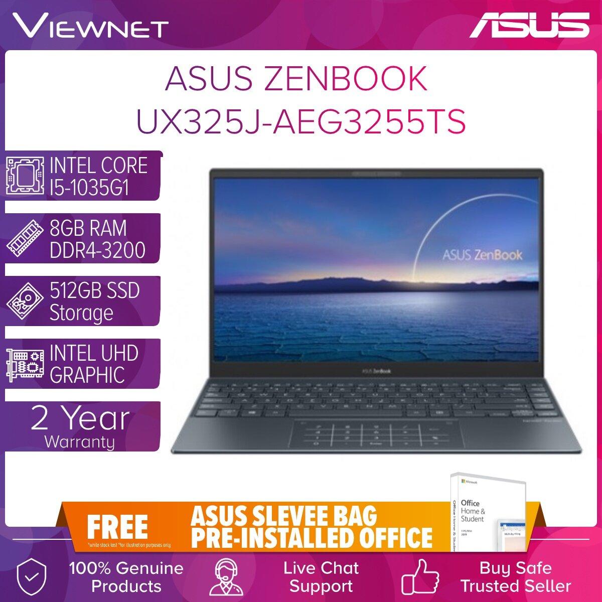 ASUS ZENBOOK 13 UX325J-AEG3255TS LAPTOP INTEL CORE I5-1035G1 8GB DDR4LP 512GB SSD INTEL HD GRAPHIC 13.3