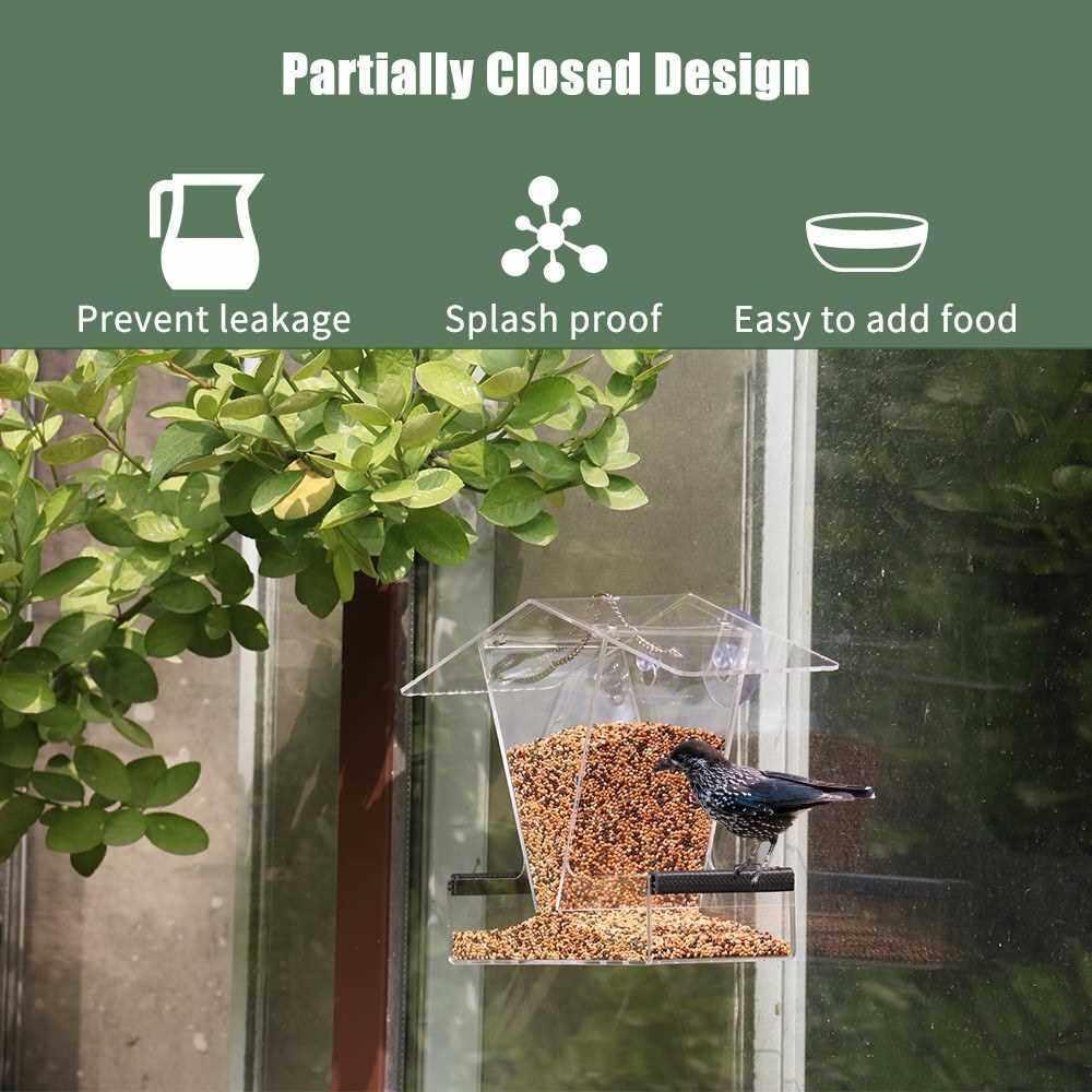 Bird Feeder House Window Bird Feed Box Hanging Parrot Food Feeder Outdoor Feeding Birdfeeders Acrylic Suction Cups Drainage Holes (2)