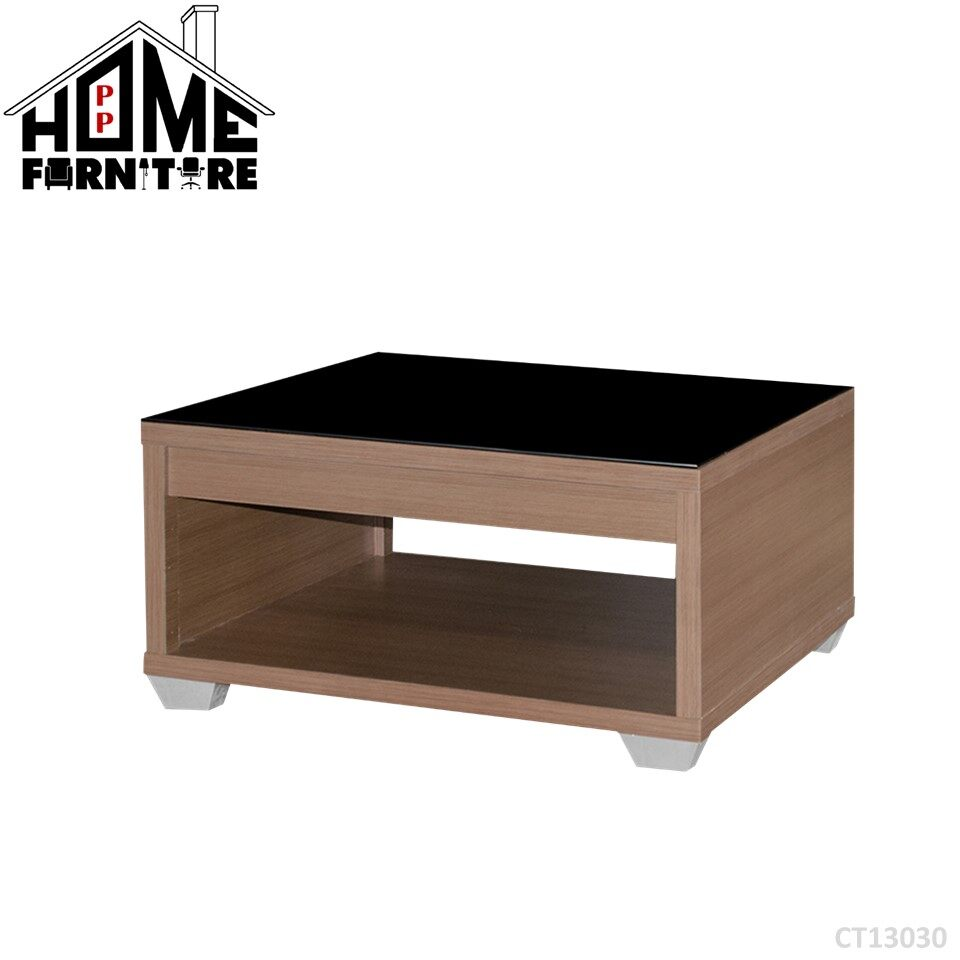 PP HOME CT13030 Square Coffee table/ Console table/ Display table/ Deco table/ Living room table/ Side table/ Living room table/  Dua lapisan meja kopi/ Meja makan/ Meja konsol/ Meja hiasan/ Meja kopi 正方形咖啡桌/餐桌 WITH glass gelas 玻璃CT13030