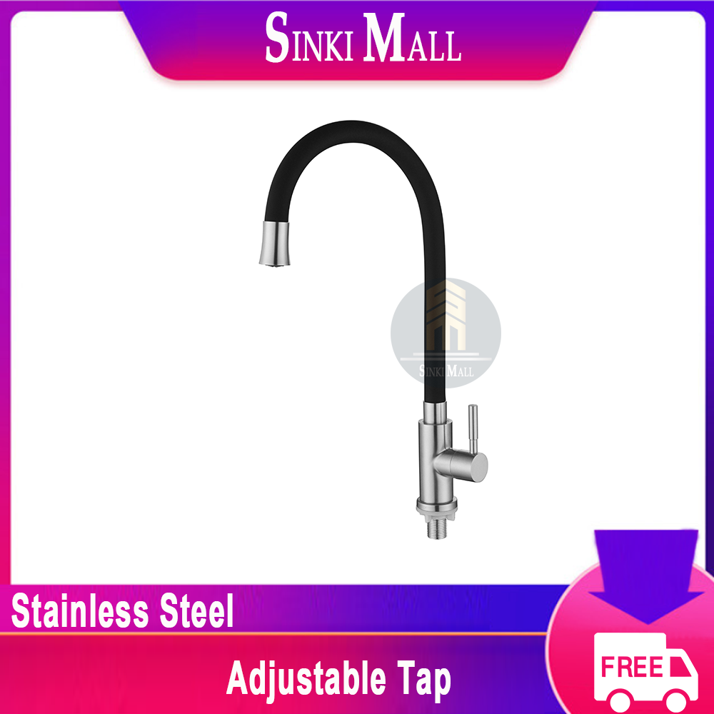 SUS304 Stainless Steel Pillar Sink Tap with Adjustable Swivel Black Tap Faucet