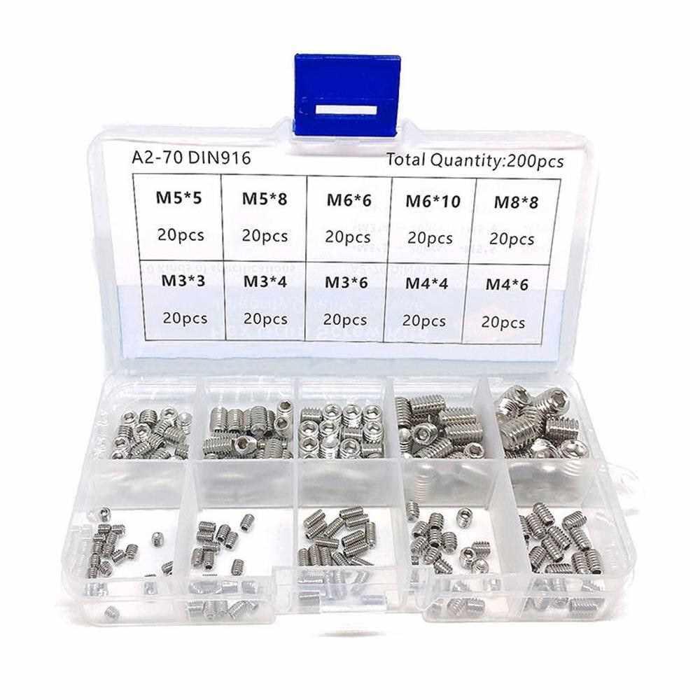 200pcs Hex Grub Screws Kit Set Screws 304 Stainless Steel M3/M4/M5/M6/M8 Grub Screw Assortment Packed in Organizer Box (Standard)