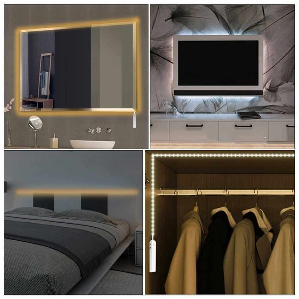 DC5-6V 2.3W 3 Meters 180 LED Strip Light Cabinet Lamp AAA Battery Powered Operated USB Charging Port Design PIR Motion Sensor Human Infrared Induction Technology Sensitive Light Control 3 Different Lighting Modes Effects Adjustable Customed Delay-time IP