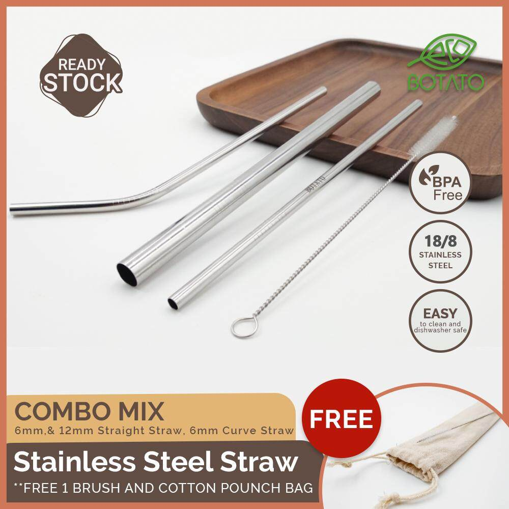 ([Ready Stock] Eco.Botato STAINLESS STEEL STRAW Free Brush and Cotton Pouch, Reusable Drinking/Beverage Tumbler Metal: Straight, Bent/Curve Shape, Combo set Eco Friendly)