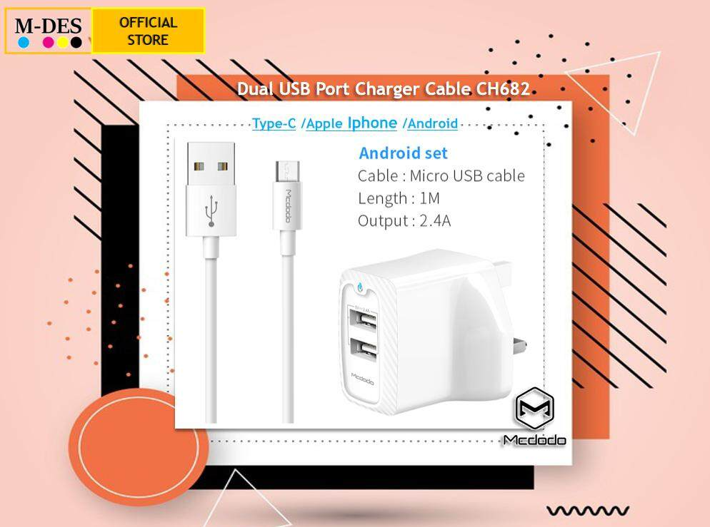 MCDODO CH6821 ABS Fireproof 2.4A Dual USB Port Charger Cable [Mirco Cable] Android